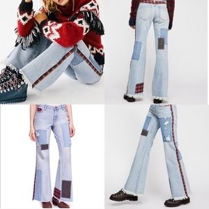 FREE PEOPLE Patched Stud Distressed Flare Jeans
